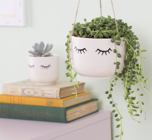 Eyes Shut Hanging Planter - White Ceramic Hanging Planter